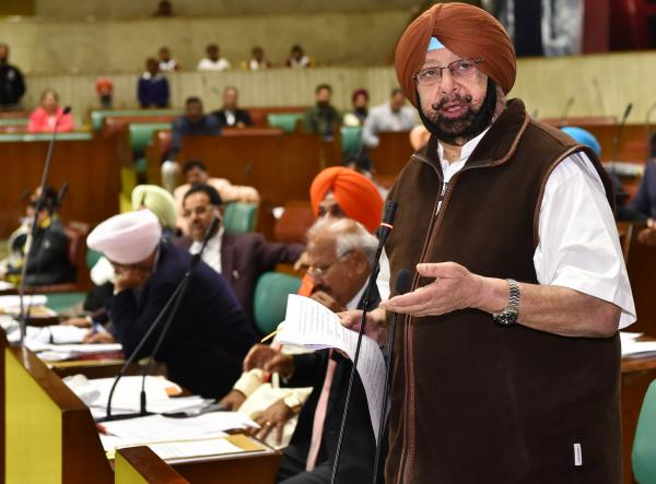 Punjab Chief Minister and Leader of the House Captain Amarinder Singh on Friday in Vidhan Sabha moving a resolution on barbaric attack on CRPF convoy yesterday in Pulwama
